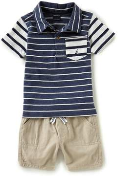 Nautica Baby Boys 12-24 Months Striped Polo Shirt & Twill Shorts Set