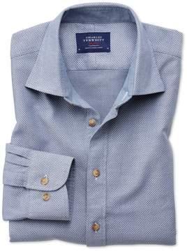 Charles Tyrwhitt Slim Fit Washed Textured Denim Blue Cotton Casual Shirt Single Cuff Size XS
