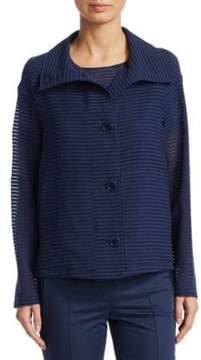 Akris Punto Shadow Stripe Button-Front Jacket