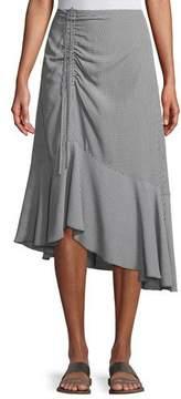 Club Monaco Ruanne Gingham Ruched Midi Skirt