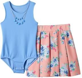 Knitworks Girls 7-16 Sleeveless Bodysuit & Floral Skater Skirt with Necklace