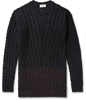 John Smedley Two-Tone Cable-Knit Merino Wool-Blend Sweater