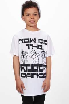 boohoo Boys Long Line Robot Tee