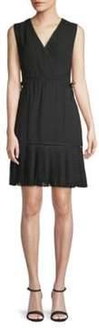 ABS by Allen Schwartz Embroidered Faux Wrap A-Line Dress