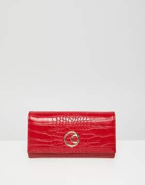Asos DESIGN double circle croc foldover purse