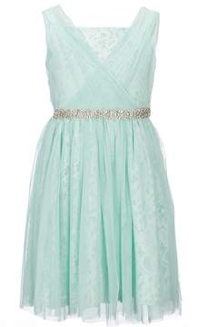 Us Angels Blush by Big Girls 7-16 Lace Beaded-Waist Dress