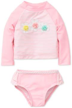 Little Me 2-Pc. Striped Rash Guard Swimsuit, Baby Girls