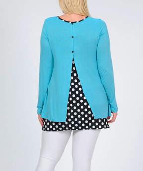 Celeste Blue Polka Dot Back-Slit Tunic - Plus