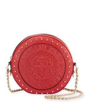 Balmain Embossed Leather Circle Crossbody Bag