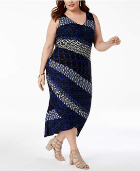 INC International Concepts I.n.c. Plus Size Mixed-Print Ruched Dress, Created for Macy's