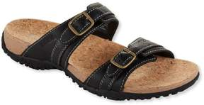 L.L. Bean L.L.Bean Women's Cork Slides, Double-Buckle Leather