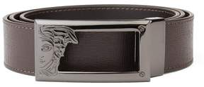 Versace Men's Medusa Steel Buckle Saffiano Leather Belt Brown