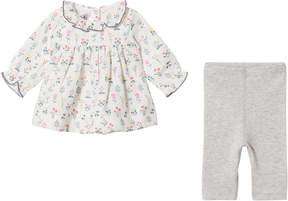 Petit Bateau White and Multi Floral Dress and Leggings Set