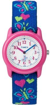Timex Kids Pink Analog Watch, Butterflies and Hearts Elastic Fabric Strap