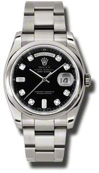 Rolex Day-Date Black Dial 18K White Gold Oyster Bracelet Automatic Men's Watch