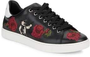 Dolce & Gabbana Men's Embroidered Leather Low Top Sneakers