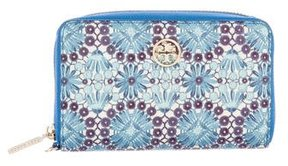 Tory Burch Floral Continental Wallet - BLUE - STYLE