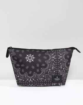 Asos Toiletry Bag In Black Bandana Print