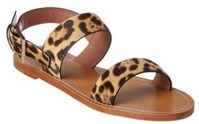 RED Valentino Leopard Ponyskin Flat Sandal.