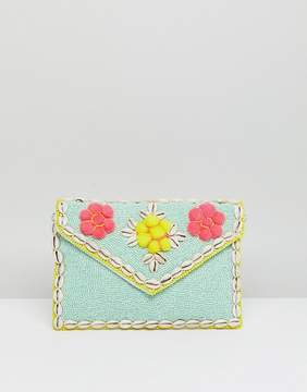 Park Lane Embellished 3D Floral Clutch Bag With Detachable Strap