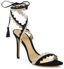Schutz Lisana Two-Tone Leather Lace-Up Sandals