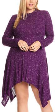 Canari Purple Mock Neck Handkerchief Dress - Plus