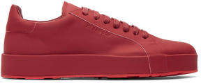 Jil Sander Red Leather Sneakers