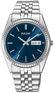 Pulsar Men's Calendar Watch - Silver Tone with Blue Dial - PXF303