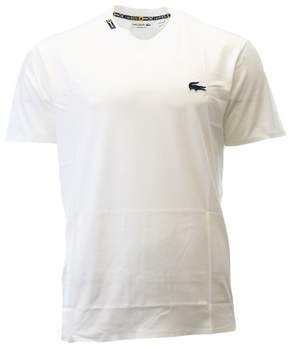 Lacoste Nautical Rubber Crocodile Casual T-Shirt Fashion Tee - White/Navy Blue - Mens - 4/M