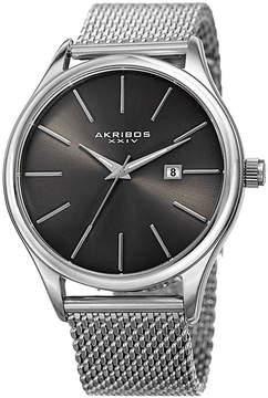 Akribos XXIV Mens Silver Tone Strap Watch-A-959ssgn