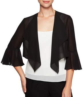 Alex Evenings 3/4 Sleeve Shrug With Bell Sleeve and Cascade Ruffle Detail