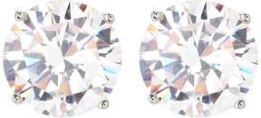 Crislu Platinum Sterling Silver Round Stud Earrings
