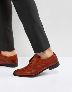 Base London Crown Leather Brogue Derby Shoes In Tan