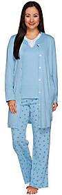 Carole Hochman As Is Rose Bud Interlock 3-Pc Pajama Set with Lace Trim