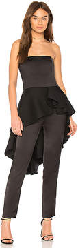 Halston Strapless Jumpsuit With Flounce Skirt
