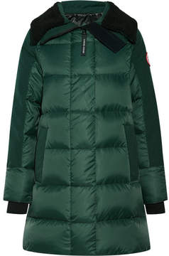 Canada Goose Altona Shearling And Leather-trimmed Quilted Shell Parka - Forest green