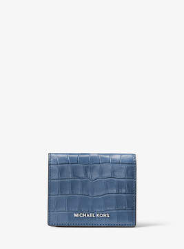 Michael Kors Mercer Embossed-Leather Card Case - BLUE - STYLE