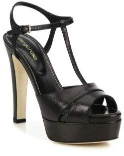 Sergio Rossi Edwige Leather Platform T-Strap Sandals