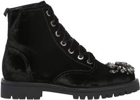 Sebastian 20mm Embellished Velvet Combat Boots