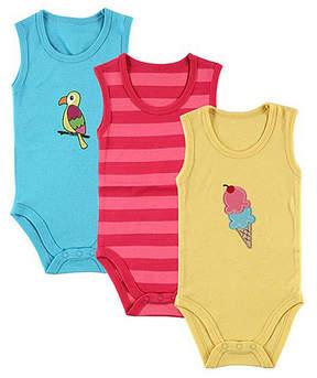 Hudson Baby Pink & Aqua Sleeveless Bodysuit Set - Newborn & Infant