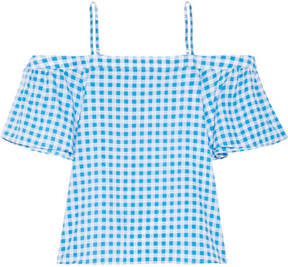 Draper James Cold-shoulder Gingham Cotton And Silk-blend Top - Azure