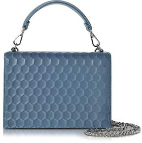 Rodo Blue Nappa on Mesh Celebration Clutch w/Top Handle