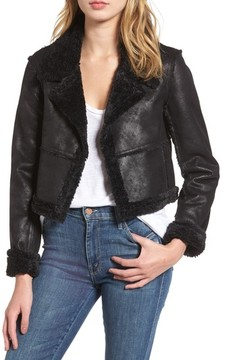 Ella Moss Women's Claudine Faux Shearling Moto Jacket