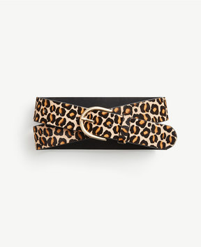 Ann Taylor Wide Leopard Print Haircalf Trouser Belt