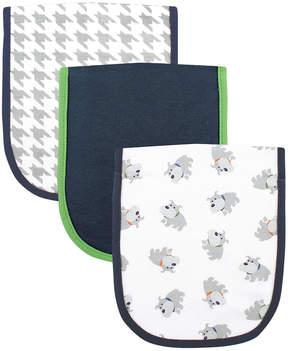 Luvable Friends Gray & Navy Dog Burp Cloth - Set of Three