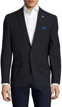 Ben Sherman Men's Text Solid Peak Lapel Sportcoat