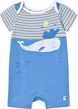 Joules Blue Stripe and Whale Applique Romper