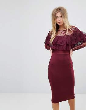 AX Paris Long Sleeve Overlay Midi Dress With Lace Detail
