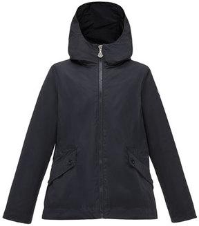Moncler Derecia Long Hooded Lightweight Jacket, Navy, Size 4-6