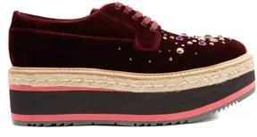 Prada Embellished velvet flatform shoes